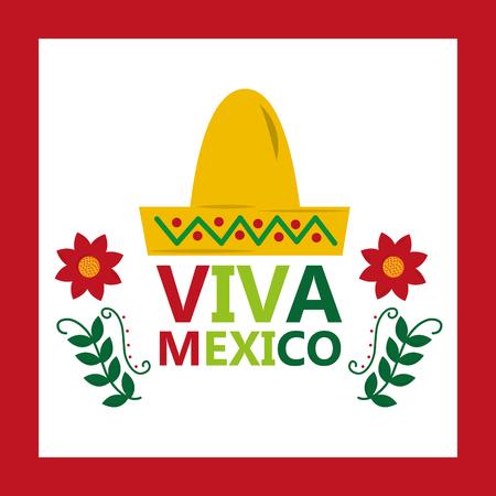 viva mexico hat tradition culture flower vector illustration