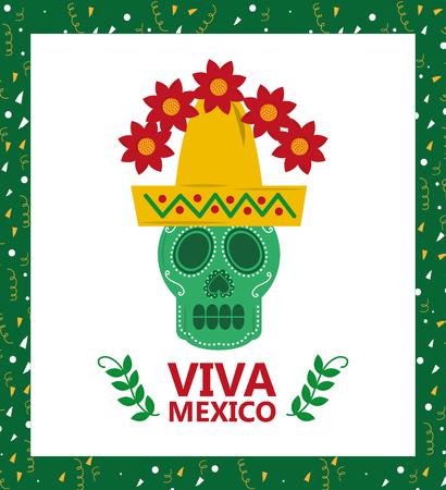 Illustrazione di vettore del cappello del cappello e del fiore del cranio di viva mexico Archivio Fotografico - 89549785