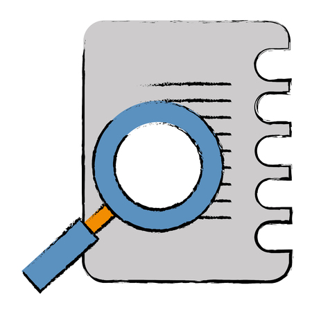 Notebook with magnifying glass icon. Illustration
