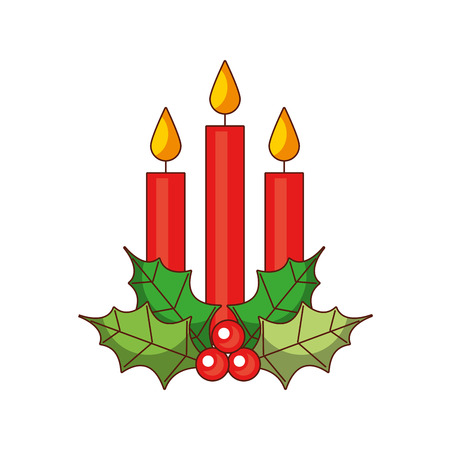 Christmas three candle holly berry leaves burning decoration, vector illustration.