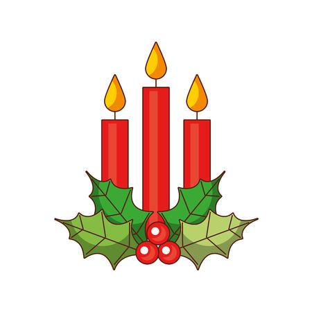 La baya del acebo de la vela de la Navidad tres sale de la decoración ardiente, ilustración del vector. Foto de archivo - 89509328