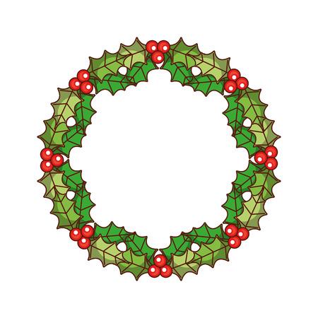クリスマスリースの果実とモミの葉のラウンドフレームベクトルイラスト