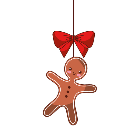 Christmas gingerbread man bow ornament hanging vector illustration.