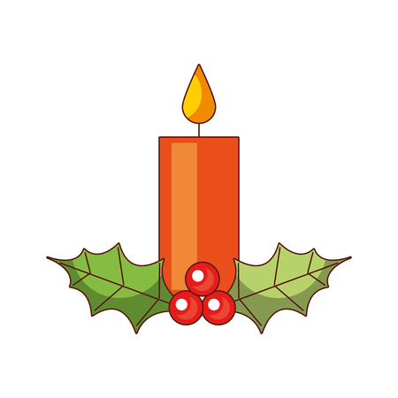 Christmas candle with holly berry design.