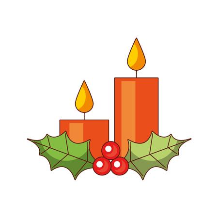 Velas de Navidad diseño de bayas de acebo. Foto de archivo - 89549334