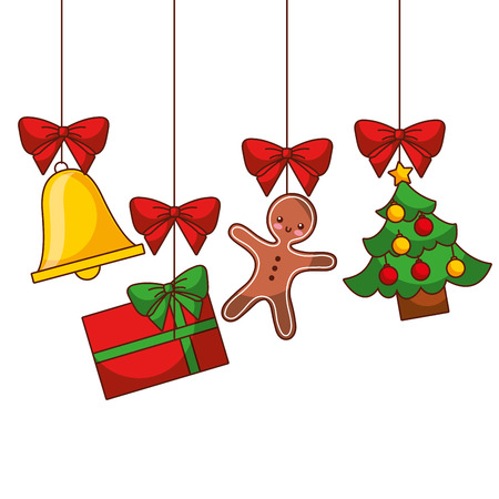 Merry Christmas tree gift gingerbread bell hanging decoration traditional, vector illustration.