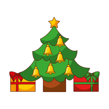 merry christmas with happy tree star, bells, gift, decoration vector illustration Illustration