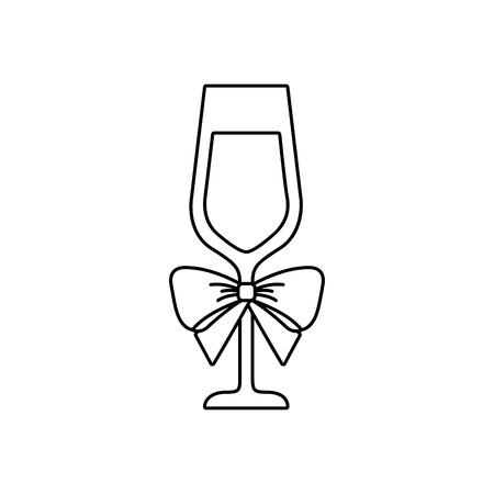 Christmas champagne glass icon. Illustration