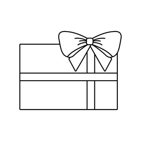 Kerstcadeau verpakt lint en boog decoratie vector illustratie Stock Illustratie