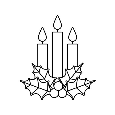 Navidad tres vela holly berry deja quema ilustración de vector de decoración Foto de archivo - 89507807