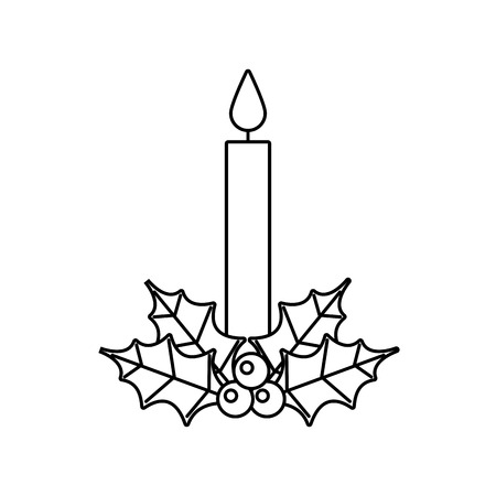 Christmas decoration leaves holly berry icon with candle.