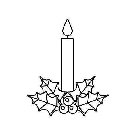 Weihnachtsdekoration verlässt Stechpalmenbeerenikone mit Kerze.