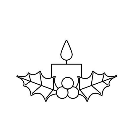 Vela de Navidad ardiendo con holly berry leaves icon. Foto de archivo - 89550419