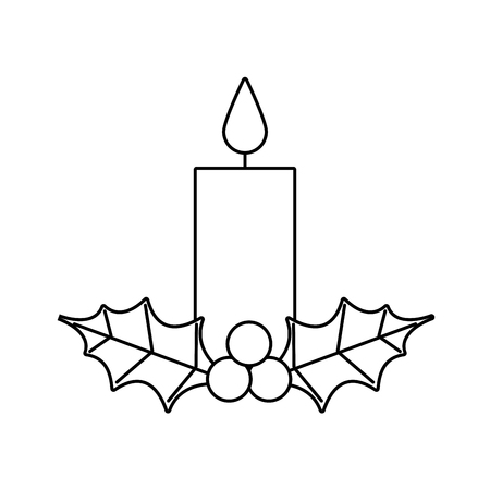 Christmas candle burning with holly berry leaves icon.