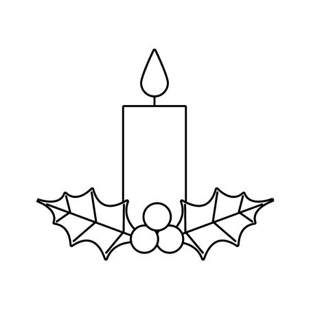 Vela de Navidad ardiente con icono de hojas de baya de acebo. Foto de archivo - 89550425