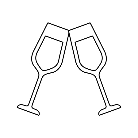 Pair of champagne glass drink icon.