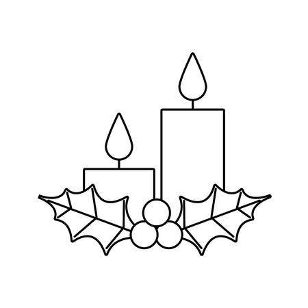 Velas de Navidad con icono de vacaciones de temporada de bayas de acebo. Foto de archivo - 89550796