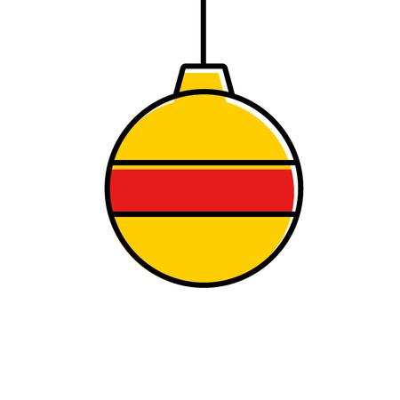 Yellow christmas ball icon.
