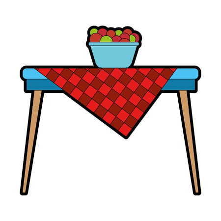 picnic table with fruits in bowl vector illustration design