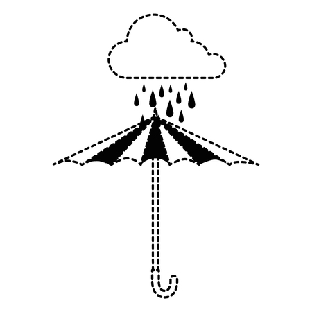 cloud rainy sky with umbrella vector illustration design
