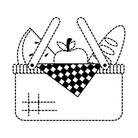 picknickmand met brood en vruchten vectorillustratieontwerp