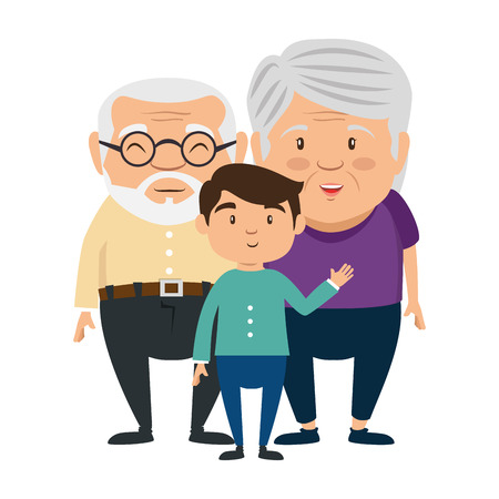 couple of grandparents with grandson avatars characters vector illustration design