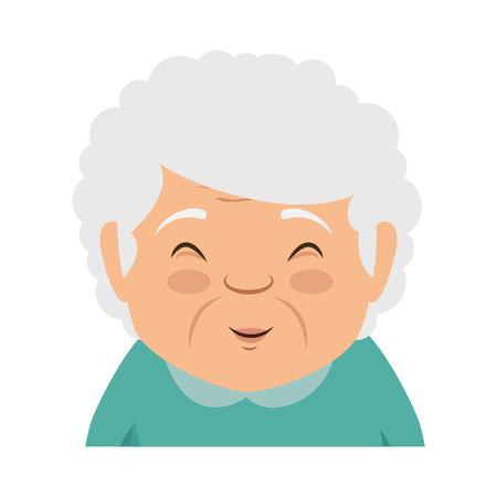 かわいい祖母のアバターキャラクターベクターイラストデザイン  イラスト・ベクター素材