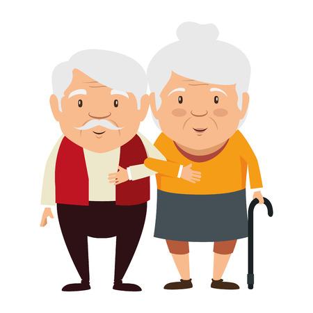 par de personajes de avatares de abuelos vector diseño de ilustración