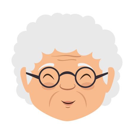 かわいいおばあさんヘッドアバターキャラクターベクターイラストデザイン  イラスト・ベクター素材