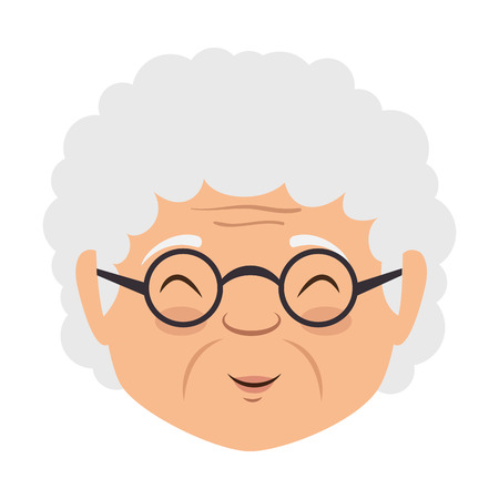 귀여운 할머니 머리 아바타 캐릭터 벡터 일러스트 디자인
