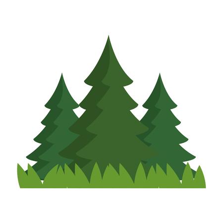 松林シーンアイコンベクトルイラストデザイン