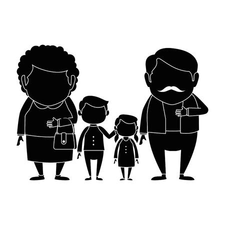 couple of grandparents with grandchildren avatars characters vector illustration design Çizim