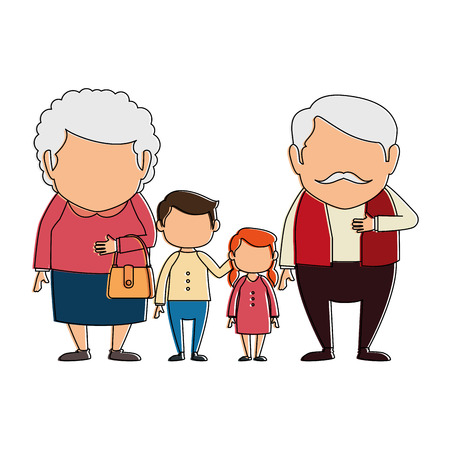 조부모 손자 아바타 문자의 커플 벡터 일러스트 레이 션, 그래픽 디자인. 일러스트