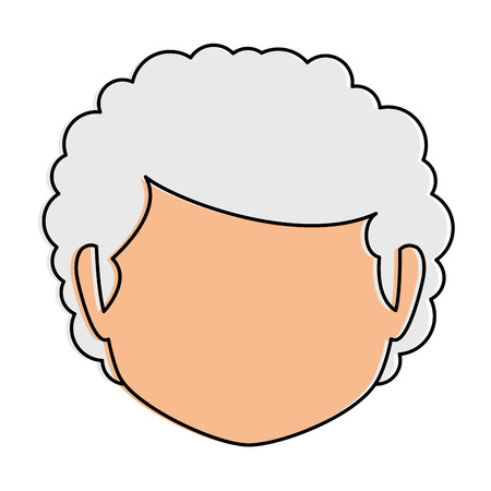 Cute grandmother head avatar character vector illustration, graphic design. Çizim