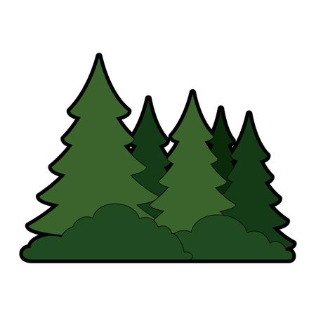 Pine forest scene icon vector illustration, graphic design. Çizim