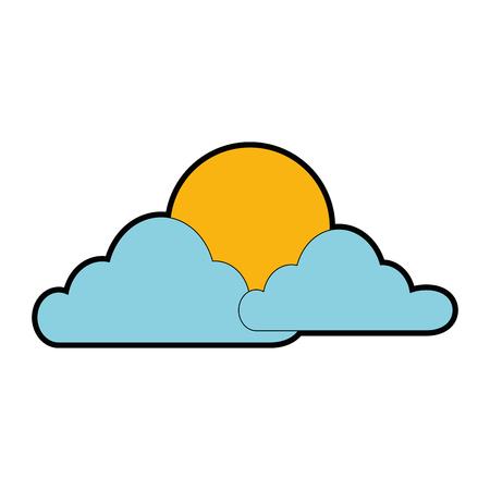 Wolkenhemel met zon vectorillustratie, grafisch ontwerp.