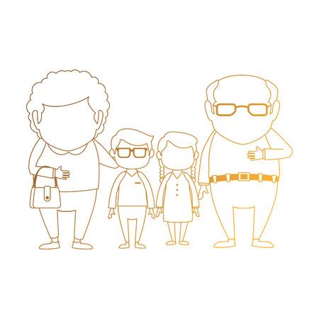 부부 조부모 손자 아바타 문자 벡터 일러스트 디자인