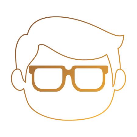 little boy head avatar characters vector illustration design