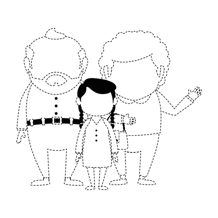 couple of grandparents with granddaughter avatars characters vector illustration design Illustration