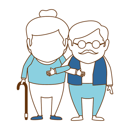 Couple of grandparents avatar, characters vector illustration