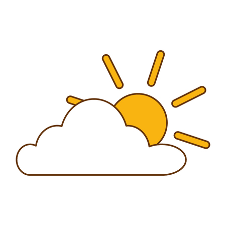 cloud sky with sun vector illustration design