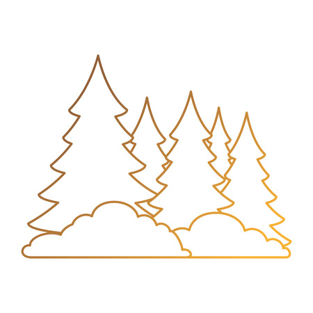 Pine forest scene icon vector illustration, graphic design. Illusztráció