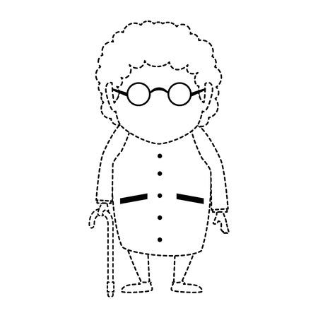 Cute grandmother avatar character vector illustration, graphic design. Çizim