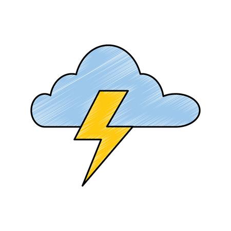 wolkenhemel met vector de illustratieontwerp van het stralenpictogram