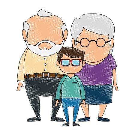 두 손자 아바타 문자 조부모 벡터 일러스트 레이 션 디자인