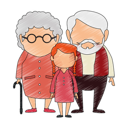 Couple of grandparents with granddaughter avatars characters vector illustration, graphic design.