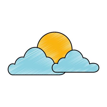 Wolk hemel met zon vector illustratie ontwerp Stock Illustratie