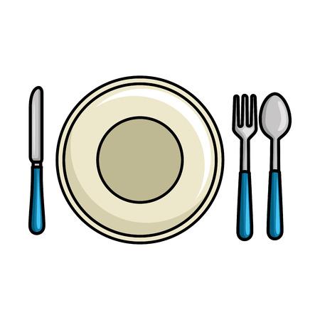 schotel met cutleries pictogram vector illustratie ontwerp