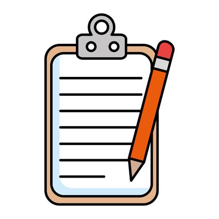 papieren klembord met potlood vector illustratie ontwerp Stock Illustratie