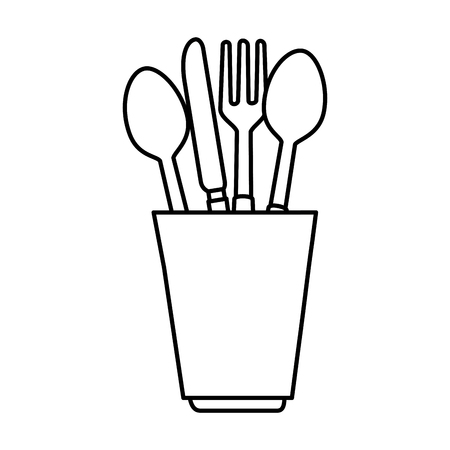 Glass with cutlery icon vector illustration, graphic design.
